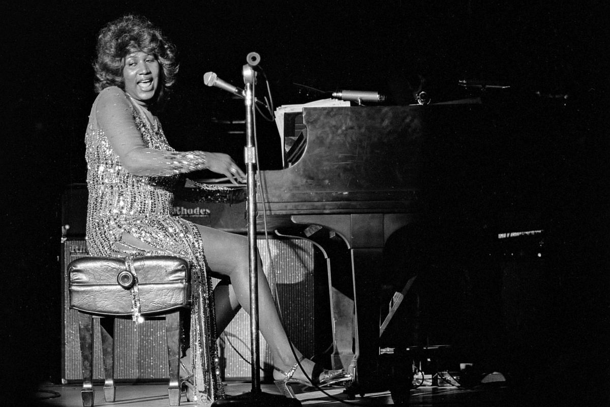 A handout photo made available by the Las Vegas News Bureau shows US singer Aretha Franklin performing on the opening night of a run of shows at the Aladdin, in Las Vegas, Nevada, US, on June 21, 1978.
