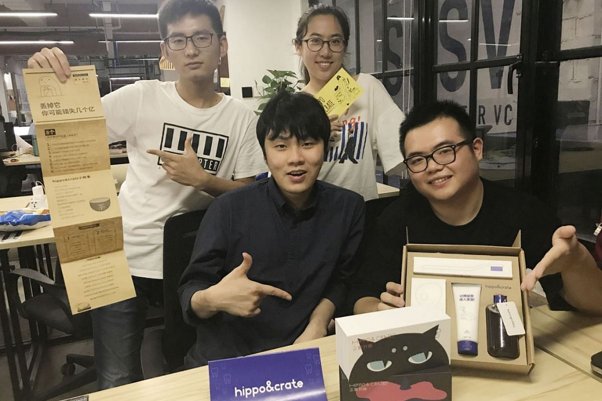 Mr Cornelius Sutrisno (front, left) with the team at his start-up, which sells dental products. He moved his business from Shenzhen to Shanghai, citing a mature ecosystem for start-ups there.
