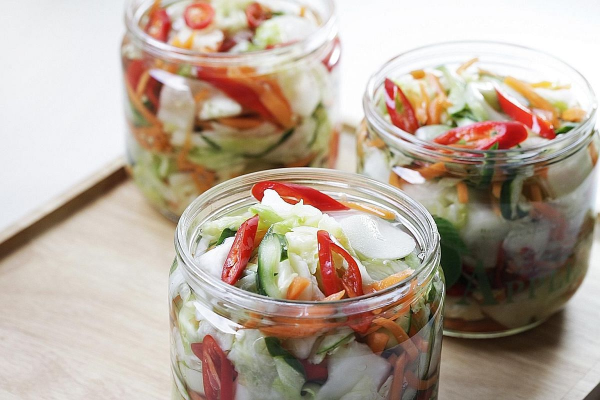When it comes to pickling, basic vegetables like green or Beijing cabbage, carrot, Japanese cucumber and red chilli add verve and colour.