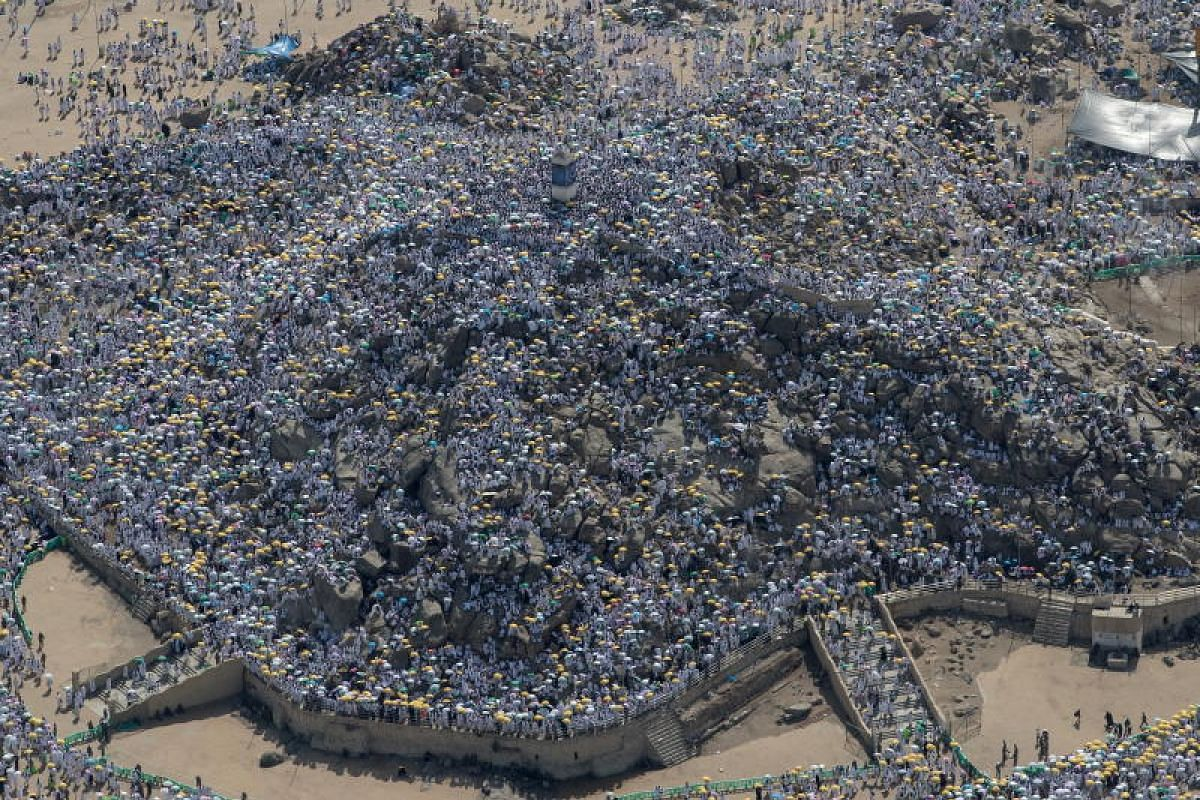 An aerial view of the Mount Arafat, where thousands of Muslim worshippers gather during the Hajj pilgrimage, near Mecca in Saudi Arabia on 20 Aug, 2018. Around 2.5 million Muslims are expected to attend this year's Hajj pilgrimage in Mecca, the holie