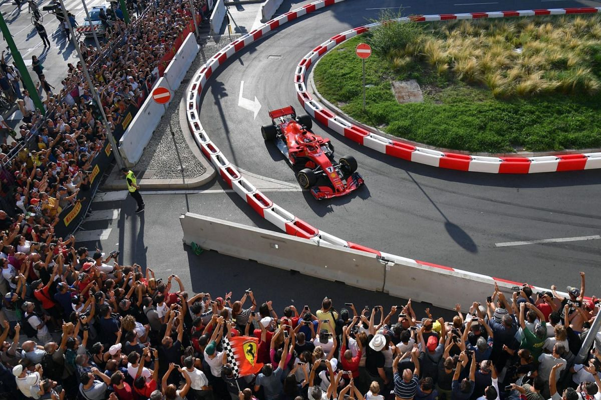Finnish Formula One driver Kimi Raikkonen of Scuderia Ferrari in action during the 'F1 Fan Festival' in downtown Milan, Italy, on Aug 29, 2018. The 2018 Formula One Gran Prix of Italy will take place on Sept 2, 2018.