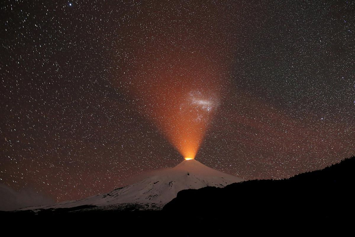The Villarrica Volcano is seen at night from Pucon town, Chile, on Sept 2, 2018.