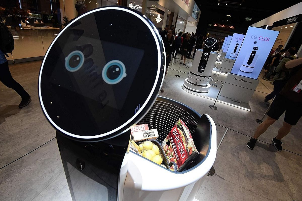 The LG CatBot robot on display at the company's booth during a preview of IFA, the world's leading trade show for consumer electronics and home appliances, in Berlin, Germany, last week.