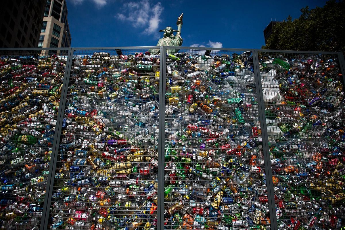 The 'Drowning Liberty' installation is displayed at Flatiron Plaza in New York, US, on Sept 4, 2018.