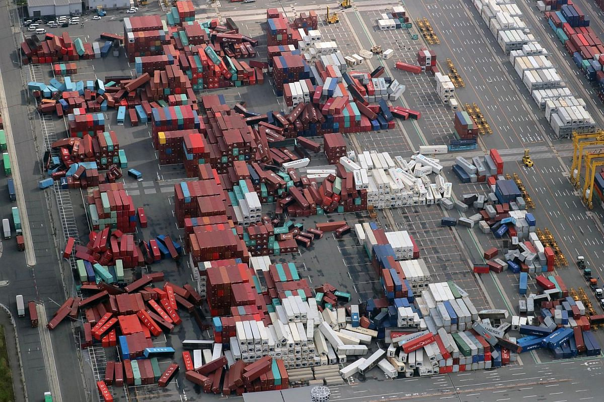 Containers toppled at a port in Osaka, western Japan, on Sept 5, 2018.