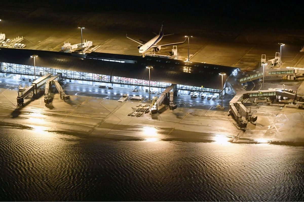 A runway at Kansai International Airport was flooded after Typhoon Jebi hit the area on Sept 4, 2018. The airport is built on a man-made island in a bay in Izumisano, western Japan.