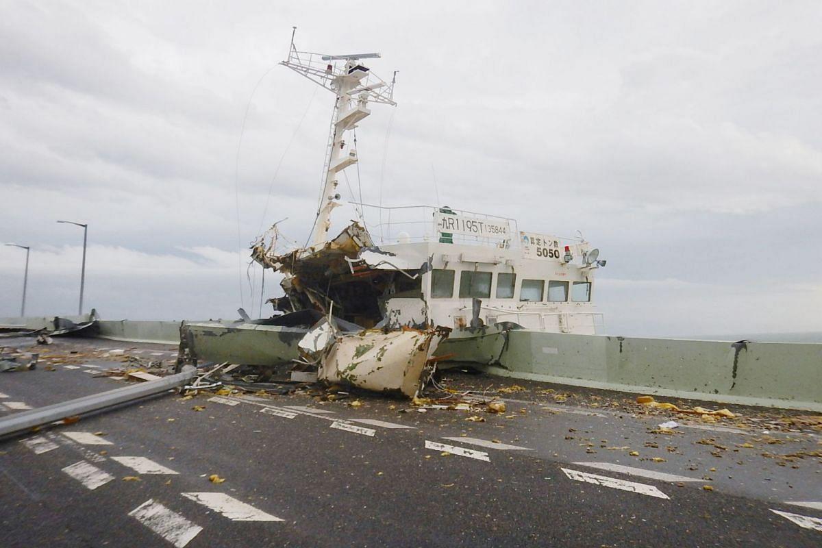 A tanker crashed into a bridge linking Kansai International Airport with the mainland near Osaka, western Japan, on Sept 4, 2018.