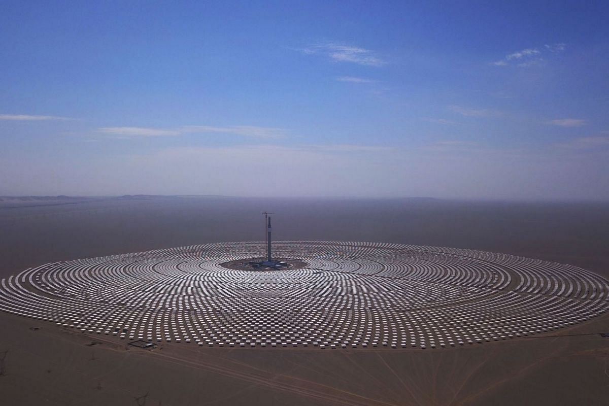 A view of the 100-megawatt molten-salt solar thermal power plant in Dunhuang in China's northwestern Gansu province, on Sept 2, 2018.