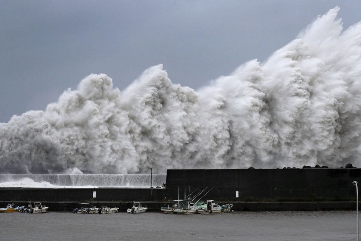 Typhoon Jebi throws up high waves at a fishing port in Aki, Kochi prefecture, western Japan, on Sept 4, 2018.