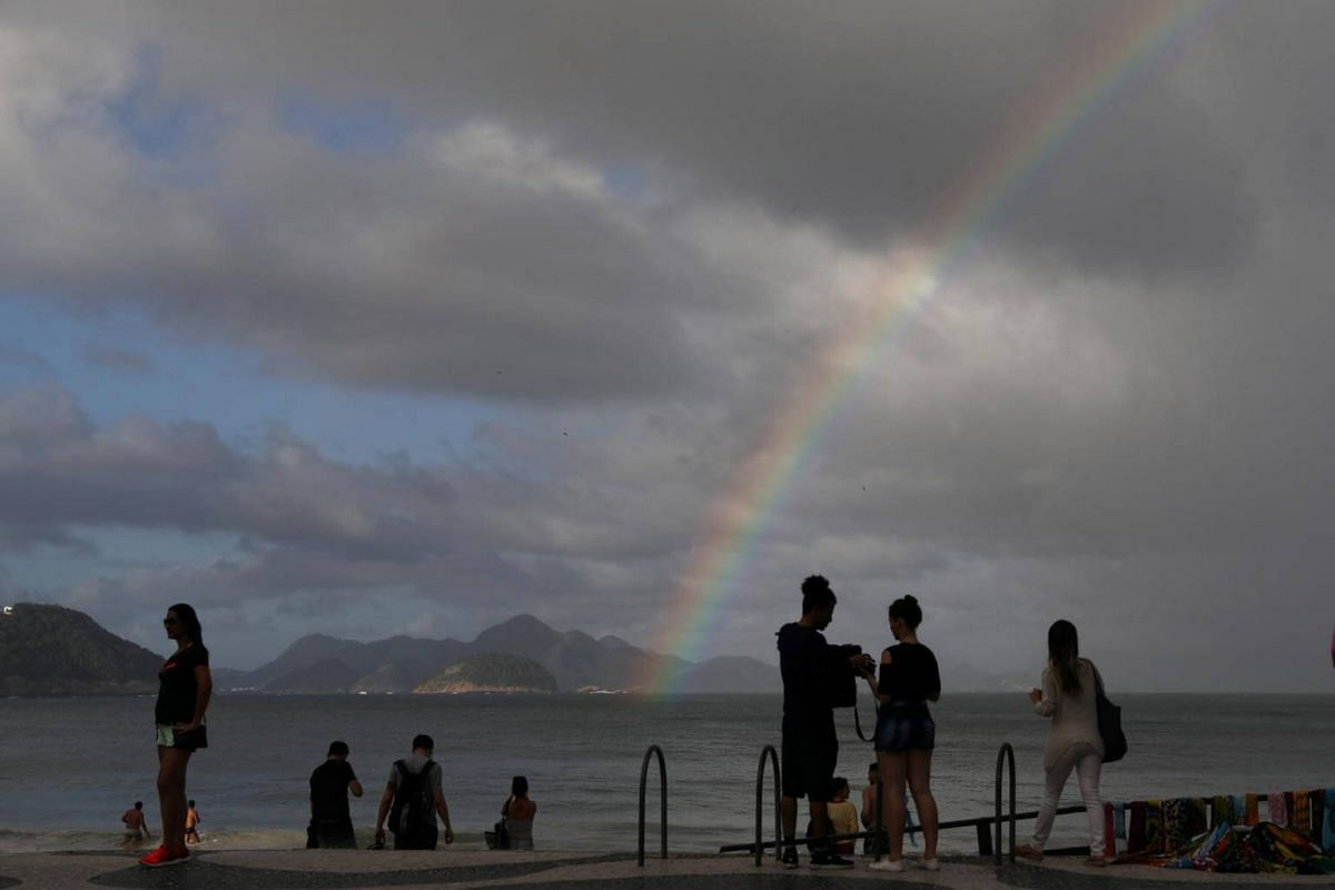 A rainbow is seen at Ipanema beach in Rio de Janeiro, on Sept 5, 2018.