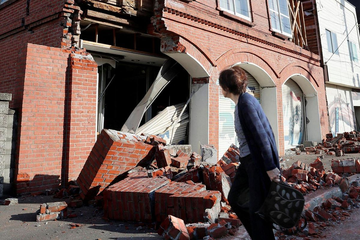 A building damaged by a powerful earthquake is seen in Abira town in Japan's northern island of Hokkaido, Japan, in this photo taken by Kyodo, on Sept 6, 2018.