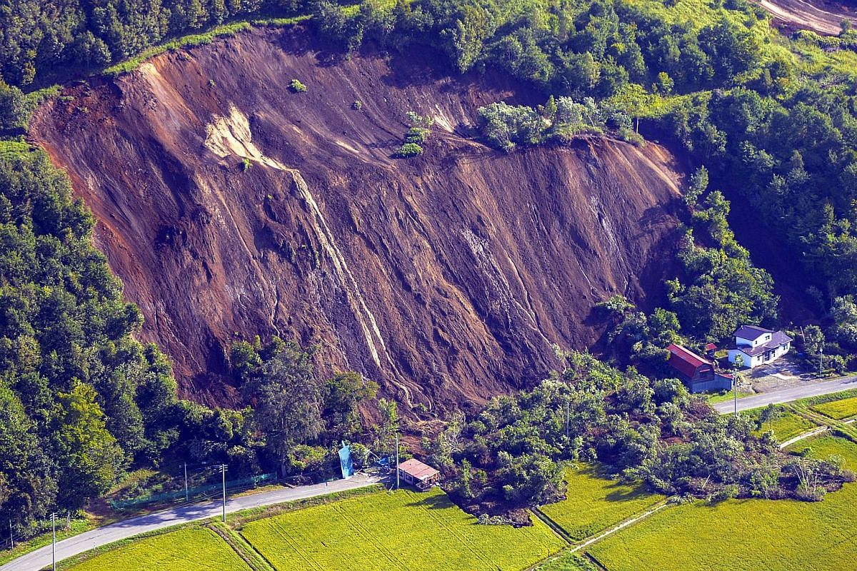 The aftermath of a large landslide that occurred after an earthquake hit Hokkaido, in Atsuma, northern Japan, on Sept 6, 2018.