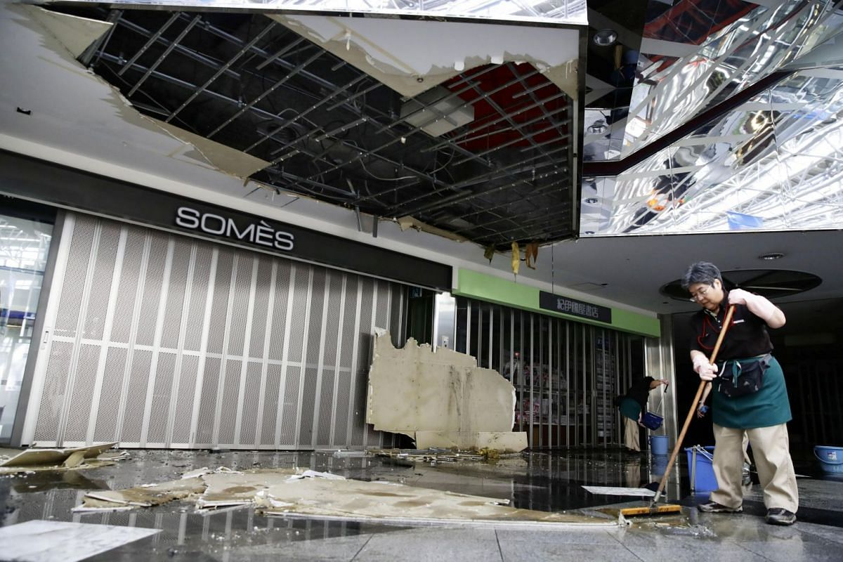 A ceiling of the domestic terminal damaged by an earthquake, is pictured at New Chitose Airport in Chitose, Hokkaido, northern Japan, in this photo taken by Kyodo, on Sept 6, 2018.