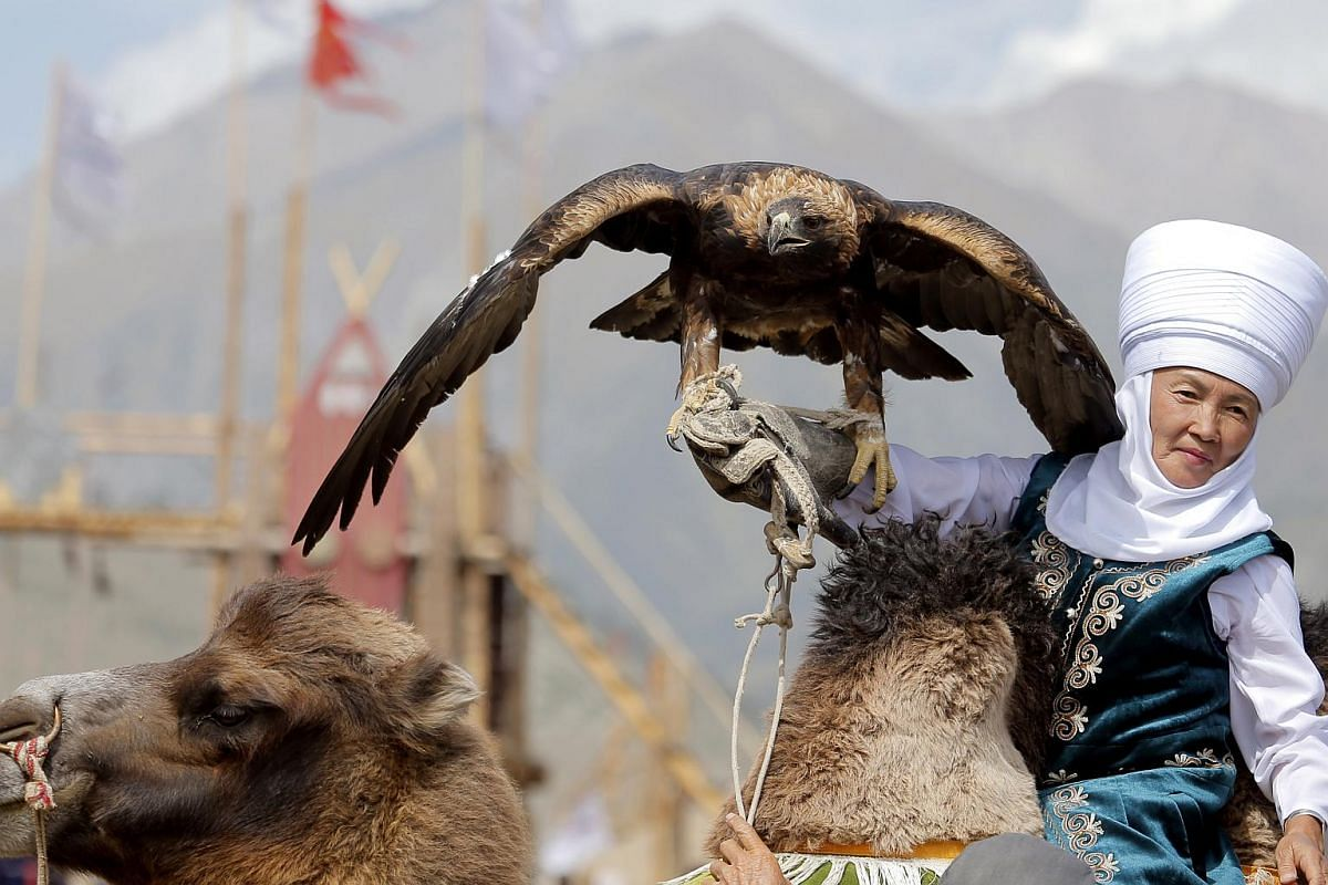 People take part during the 3rd World Nomad Games at Issyk-Kul lake in gorge 'Kyrchyn', 300km from Bishkek, Kyrgyzstan, on Sept 6, 2018.