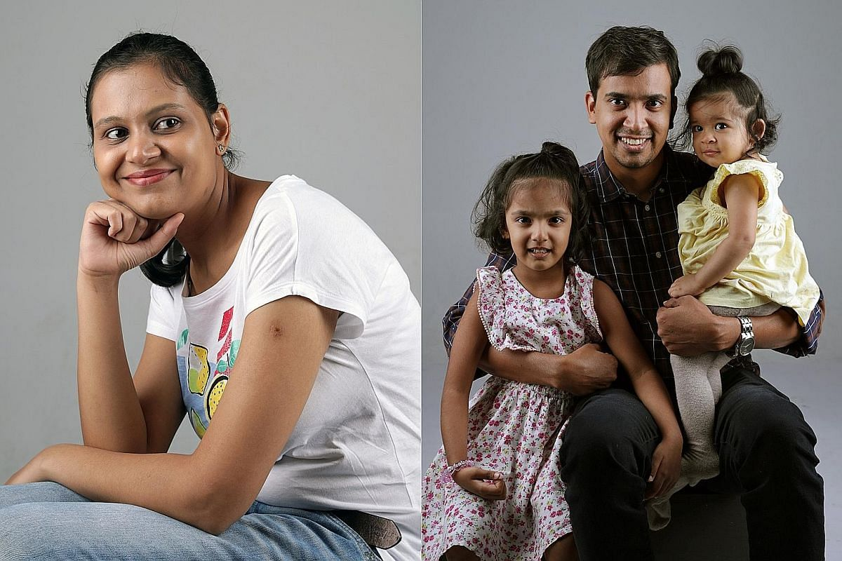 Ms Nidhi Paritosh Mahana, who was diagnosed with an obsessive compulsive disorder and acrophobia, and her husband Paritosh Mahana, 36, and daughters Aditi, 41/2, and Anisha, one.