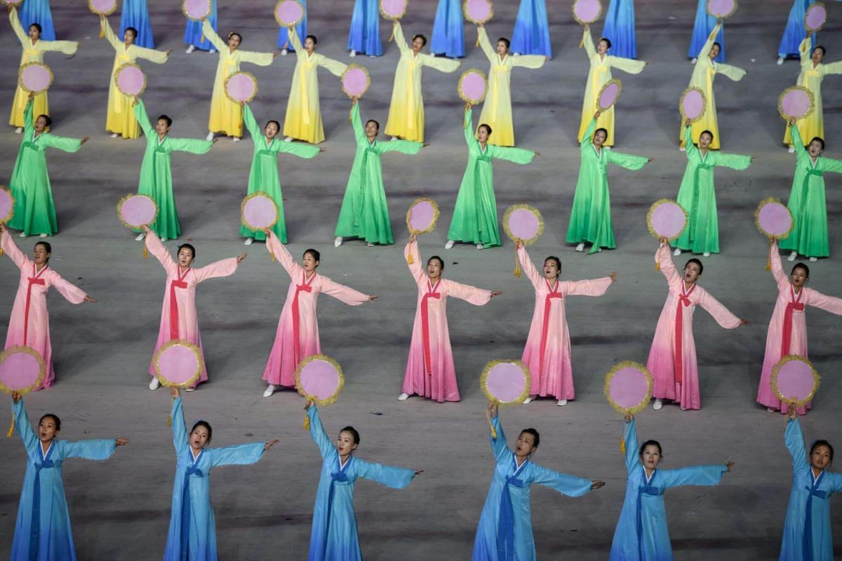 Participants perform in a Mass Games artistic and gymnastic display at the May Day stadium in Pyongyang, on Sept 9, 2018.