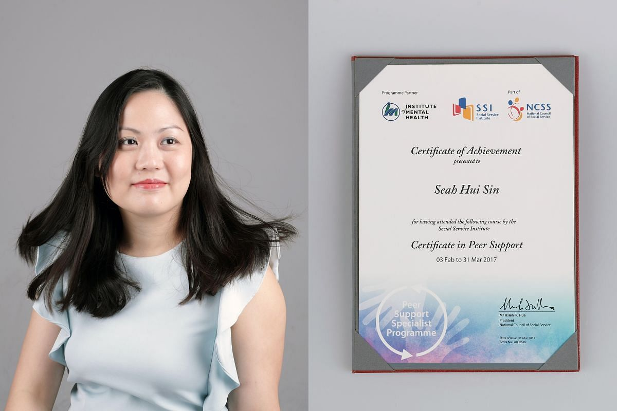 Ms Deborah Seah, 36, who was diagnosed with bipolar and anxiety disorder in 2013. She will be starting work as a personal assistant later this month. (Right) Her certificate of acheivement for participating in the Peer Support Specialist course in 20