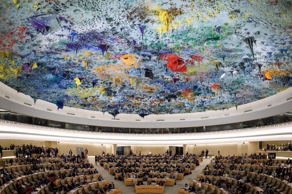 A general view of the opening day of the 39th UN Council of Human Rights at the UN Offices in Geneva on Sept 10, 2018 . PHOTO: AFP