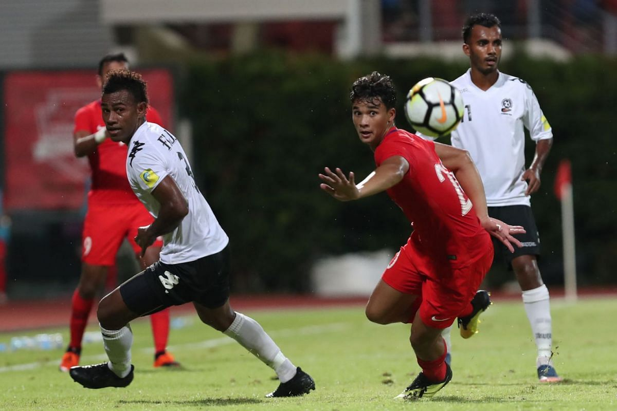 A second goal by striker Ikhsan Fandi (right) gave Singapore a 2-0 win over Fiji in a friendly at the Bishan Stadium on Sept 11, 2018. PHOTO: THE STRAITS TIMES/TIMOTHY DAVID