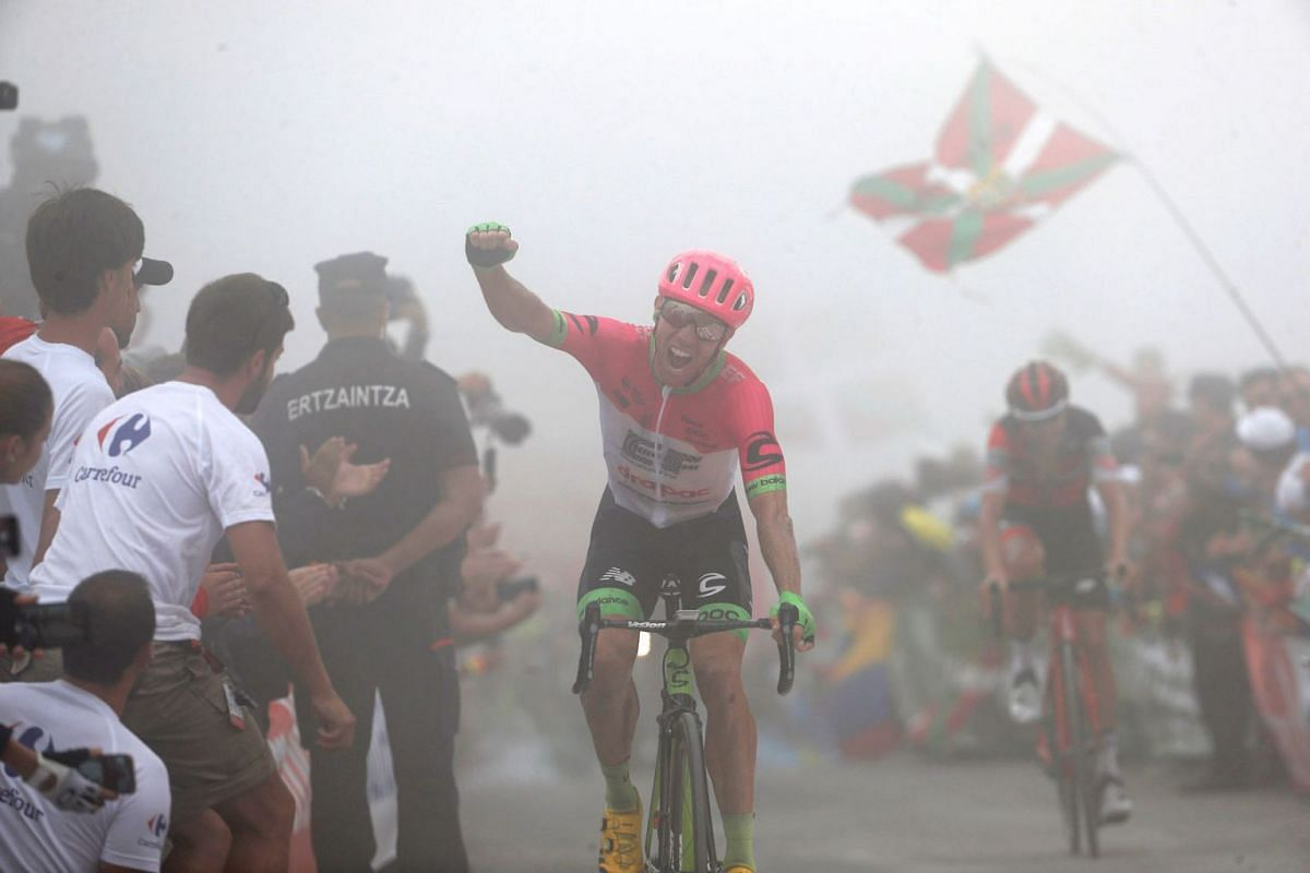 Canadian rider Michael Woods, of Education First team, reacts after winning the 17th stage of the 2018 La Vuelta cycling tour, over 157 km from Getxo to Mount Oiz, Basque Country, northern Spain, 12 September 2018. PHOTO: EPA-EFE