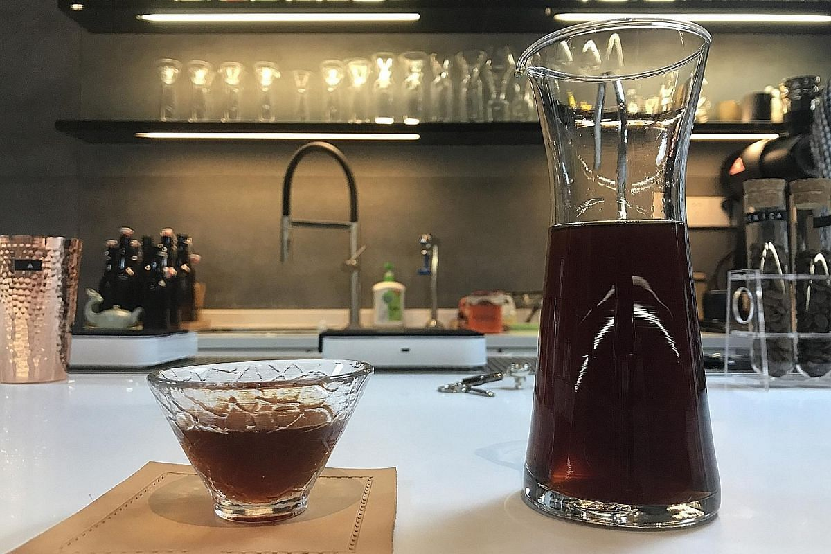 Left: Hand-drip coffee like this could cost up to 98 yuan (S$20) a cup at a speciality coffee shop in Shanghai. Below: CC Lab sells only coffee. Its owners, who do not draw a salary, say they want to stay true to their objective of promoting the coff