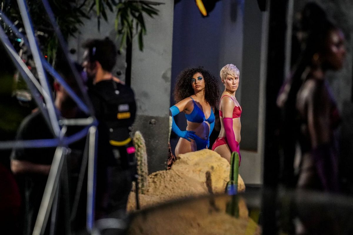 Models rehearse on the stage before the Savage X Fenty fashion show in New York City, on Sept 12, 2018.
