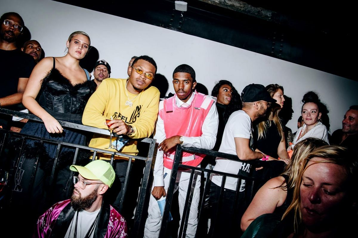 Stella Duval (left) and Christian Combs at the Savage X Fenty show at the Brooklyn Navy Yard, on Sept 12, 2018.