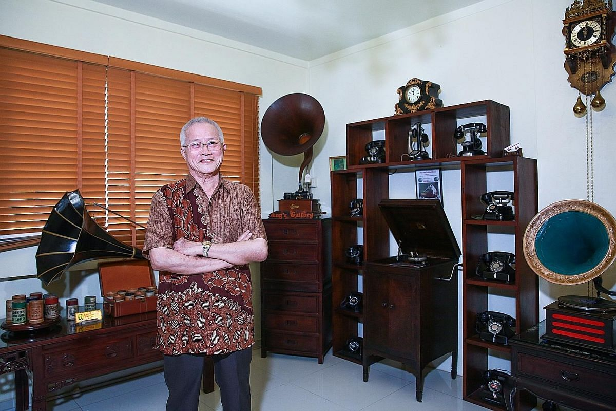 Retired businessman Harry Ang has been collecting gramophones since he was a teen. Mr Jason Chong operates hobby business Vintage Empire out of his flat in Marine Drive.