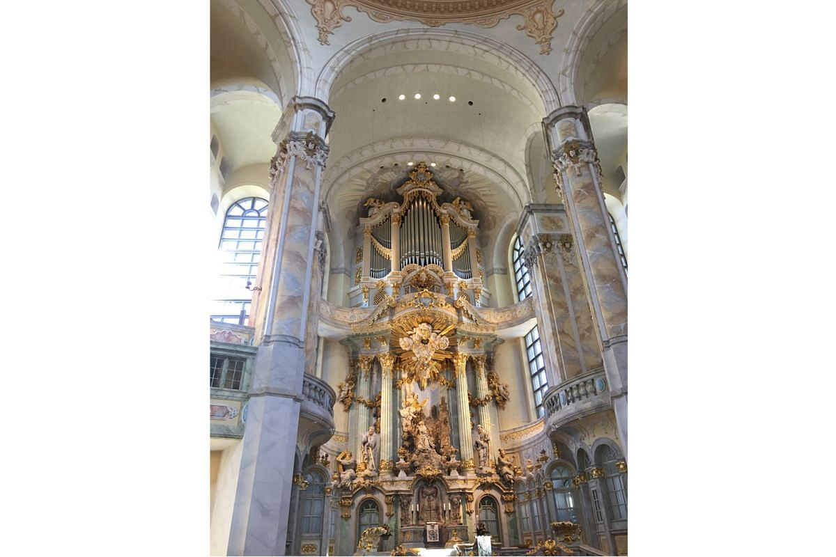 The majestic Frauenkirche Dresden, or Church of Our Lady, was rebuilt after World War II.