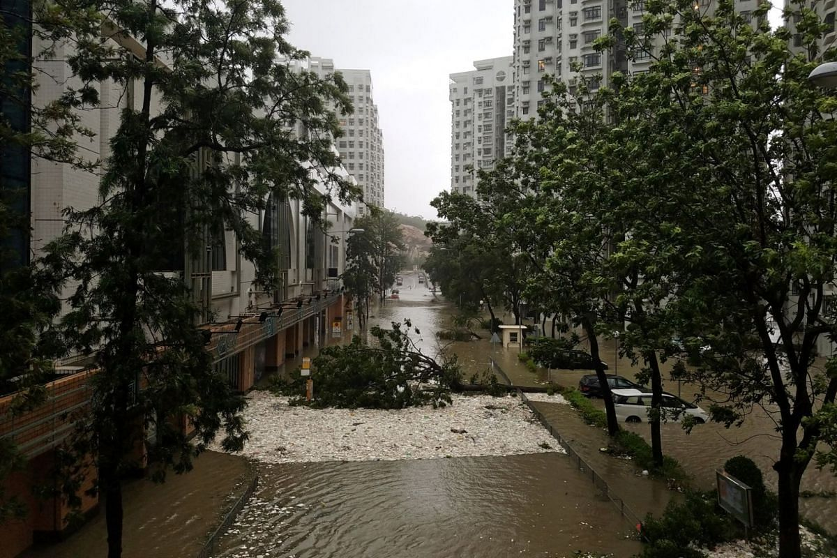Foam washed ashore by high waves is seen in Heng Fa Chuen, a residential district near the waterfront in Hong Kong, during Typhoon Mangkhut on Sept 16, 2018.