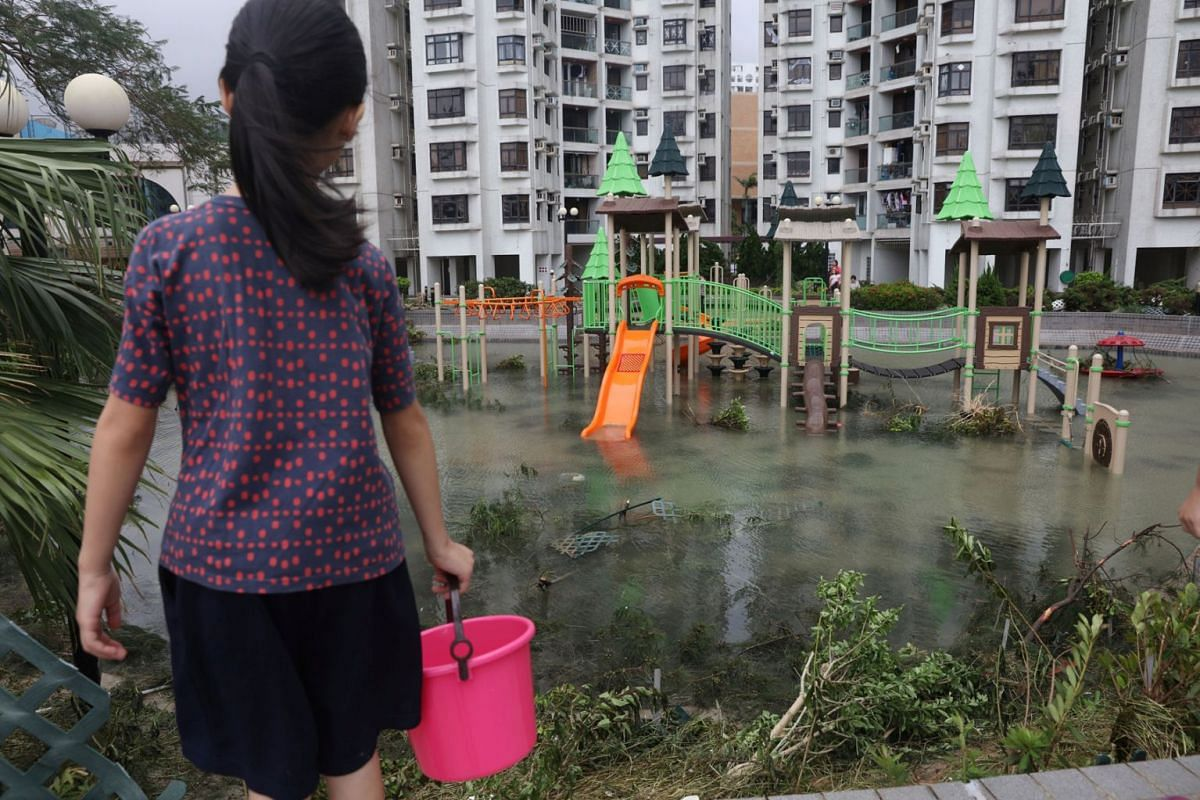 A park is flooded by seawater after Typhoon Mangkhut hit Hong Kong, China, September 17, 2018.