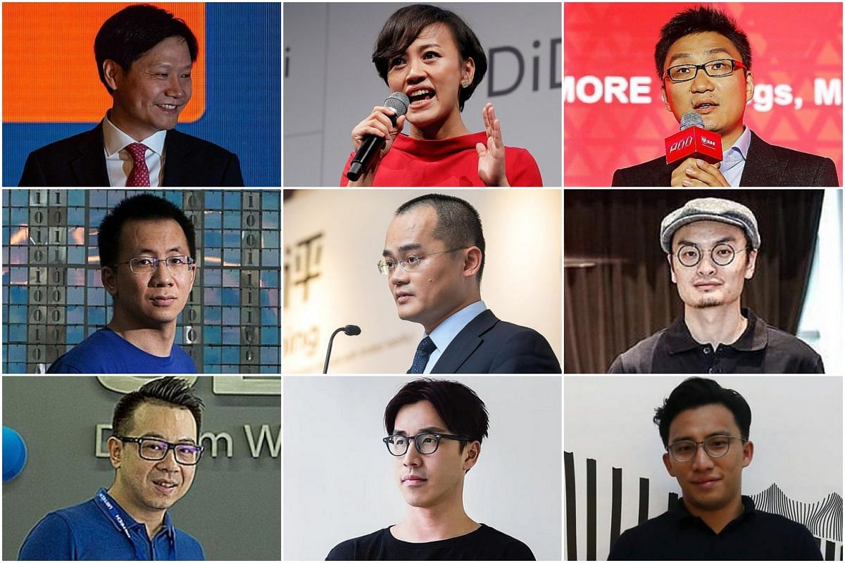 (Top row from left) Mr Lei Jun, Ms Jean Liu, Mr Colin Huang, (middle row from left) Mr Zhang Yiming, Mr Wang Xing, Mr Frank Wang, (bottom row from left) Mr James Zhou, Mr Kevin Ma and Mr Wesley Ng.