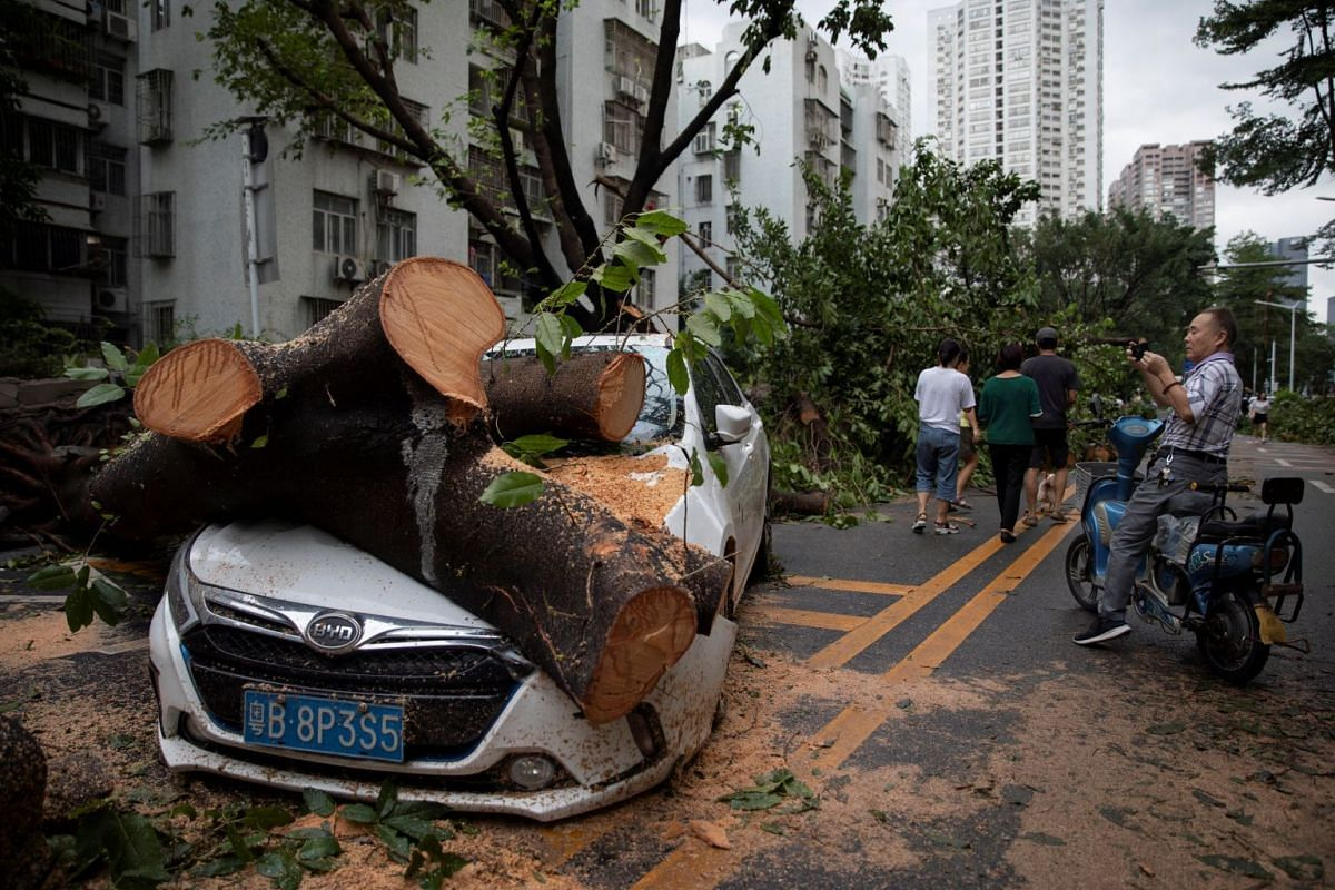 A carpark in Shenzhen on Sept 17, 2018, after Typhoon Mangkhut hit China's Guangdong province.