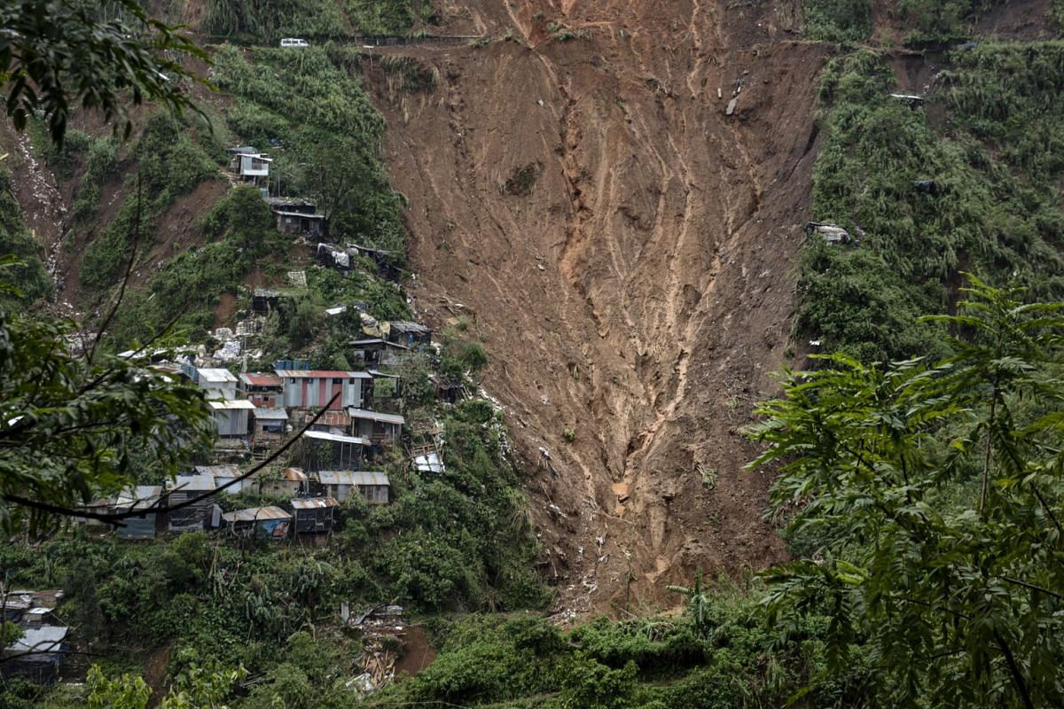 A general view of the landslide in Itogon, the Philippines, that swept part of the mining community there away.