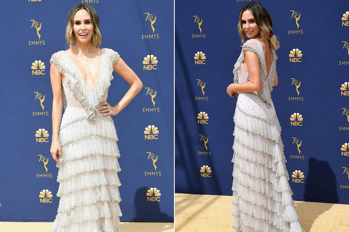 Entertainment reporter Keltie Knight arrives for the 70th Emmy Awards at the Microsoft Theatre in Los Angeles on Sept 17, 2018.