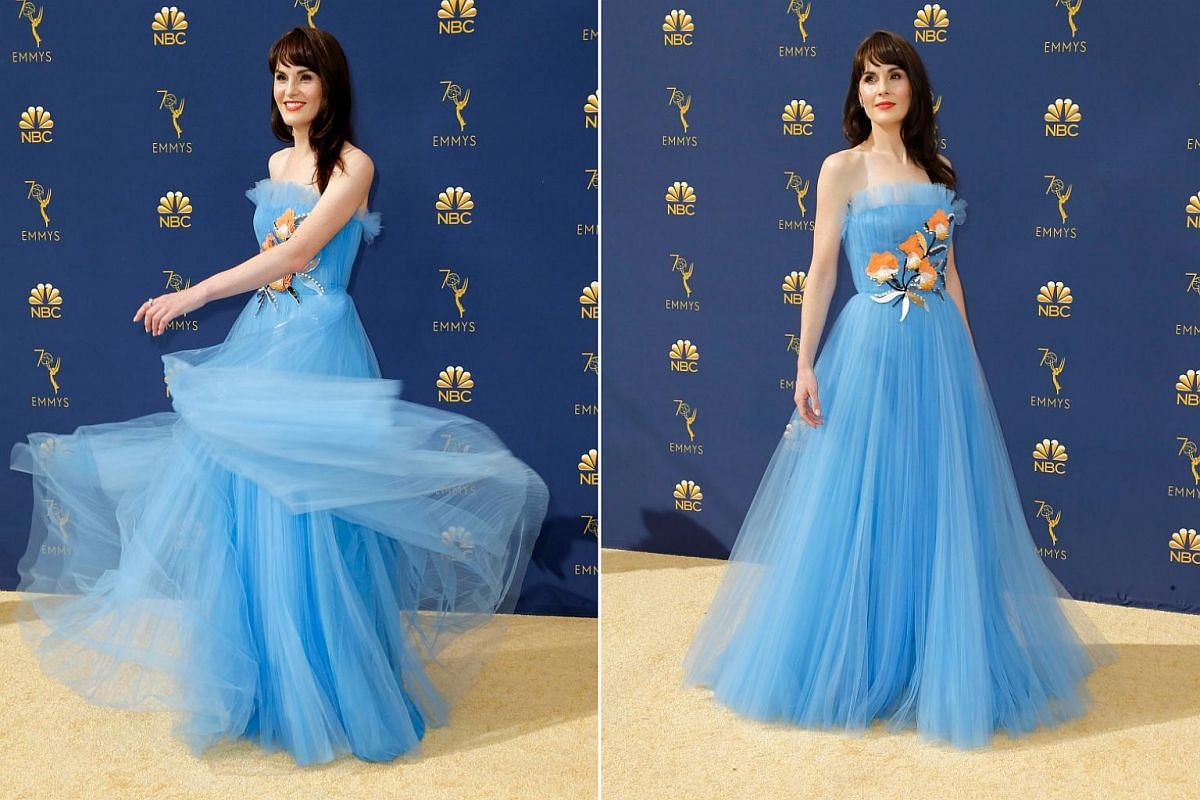 Lead actress in a limited series or movie nominee Michelle Dockery arrives for the 70th Emmy Awards at the Microsoft Theatre in Los Angeles on Sept 17, 2018.