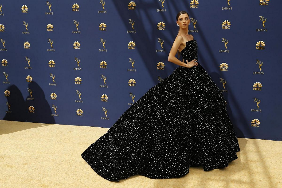 Angela Sarafyan arrives for the 70th Emmy Awards at the Microsoft Theatre in Los Angeles on Sept 17, 2018.