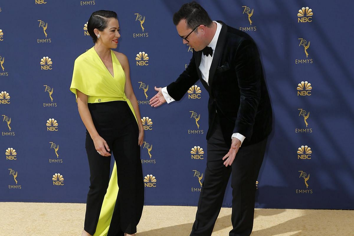 Tatiana Maslany and Kristian Bruun arrive for the 70th Emmy Awards at the Microsoft Theatre in Los Angeles on Sept 17, 2018.