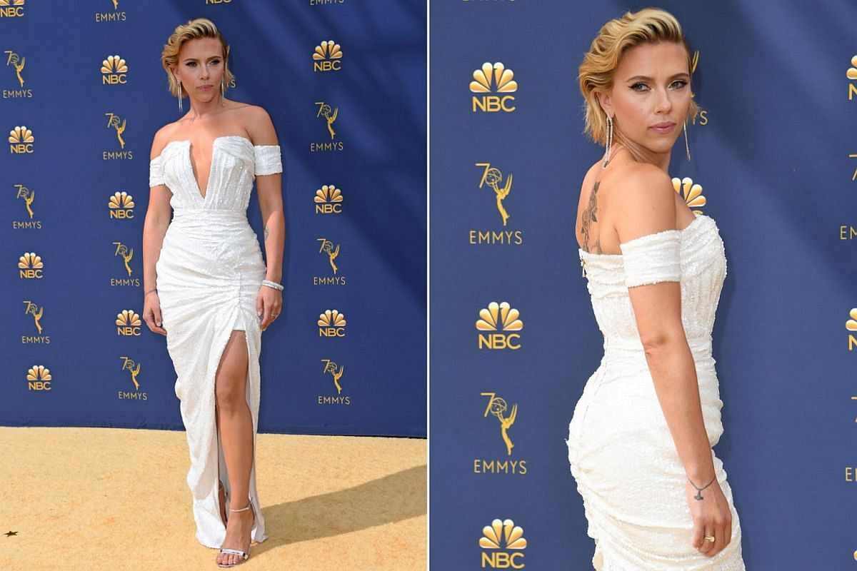 Scarlett Johansson arrives for the 70th Emmy Awards at the Microsoft Theatre in Los Angeles on Sept 17, 2018.