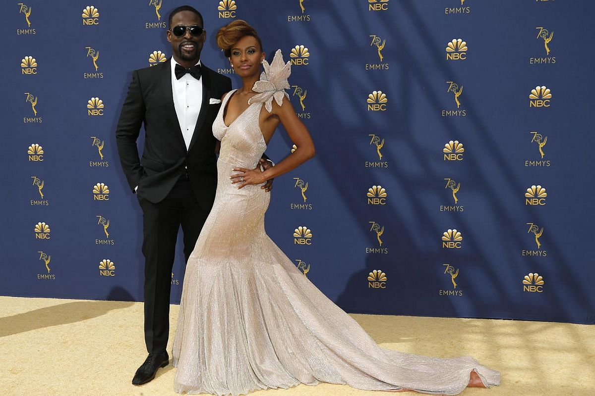 Lead actor in a drama series and guest actor in a comedy series nominee Sterling K. Brown and his wife Ryan Michelle Bathe arrive for the 70th Emmy Awards at the Microsoft Theatre in Los Angeles on Sept 17, 2018.