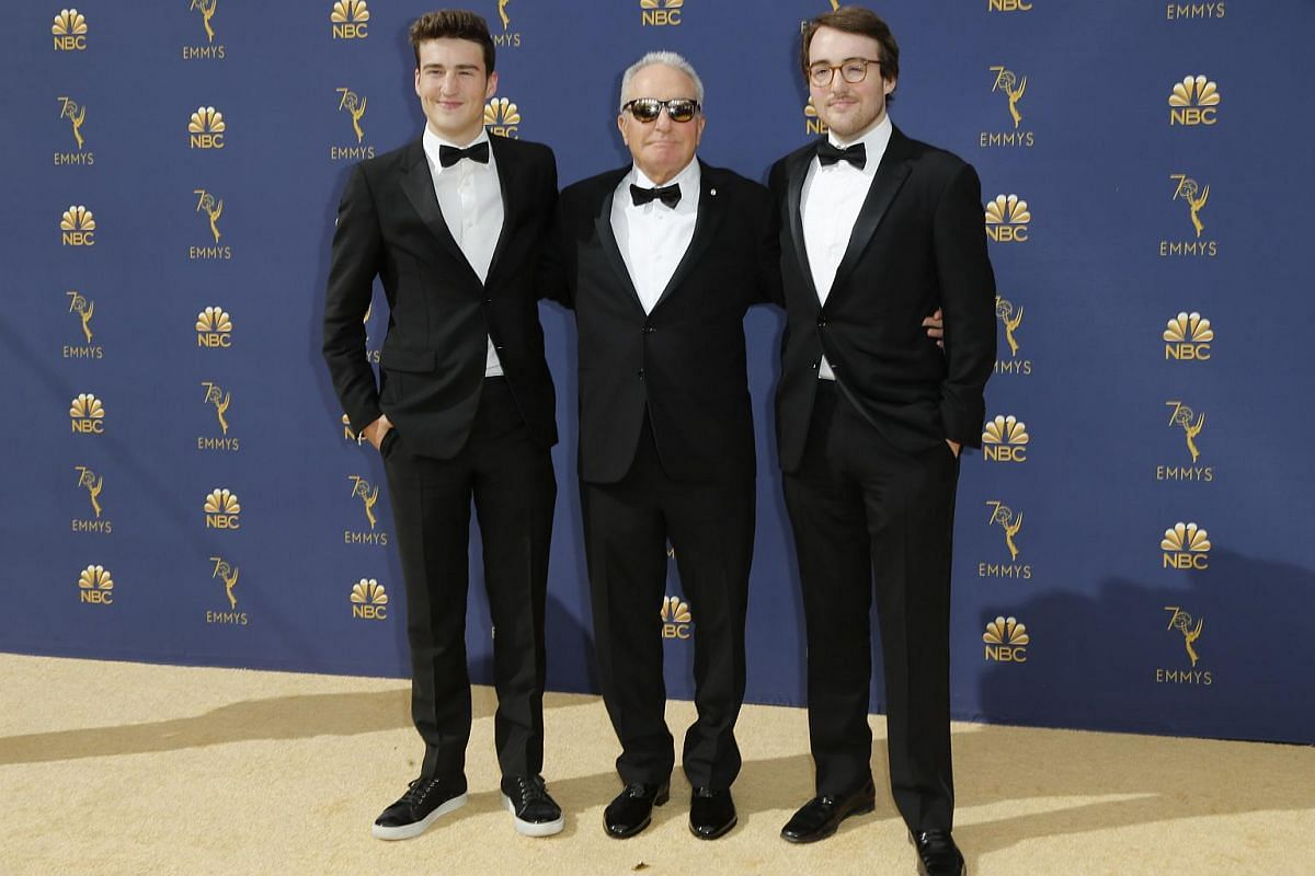Lorne Michaels (centre) with Henry and Eddie Michaels at the 70th Emmy Awards at Microsoft Theater on Sept 17, 2018 in Los Angeles.