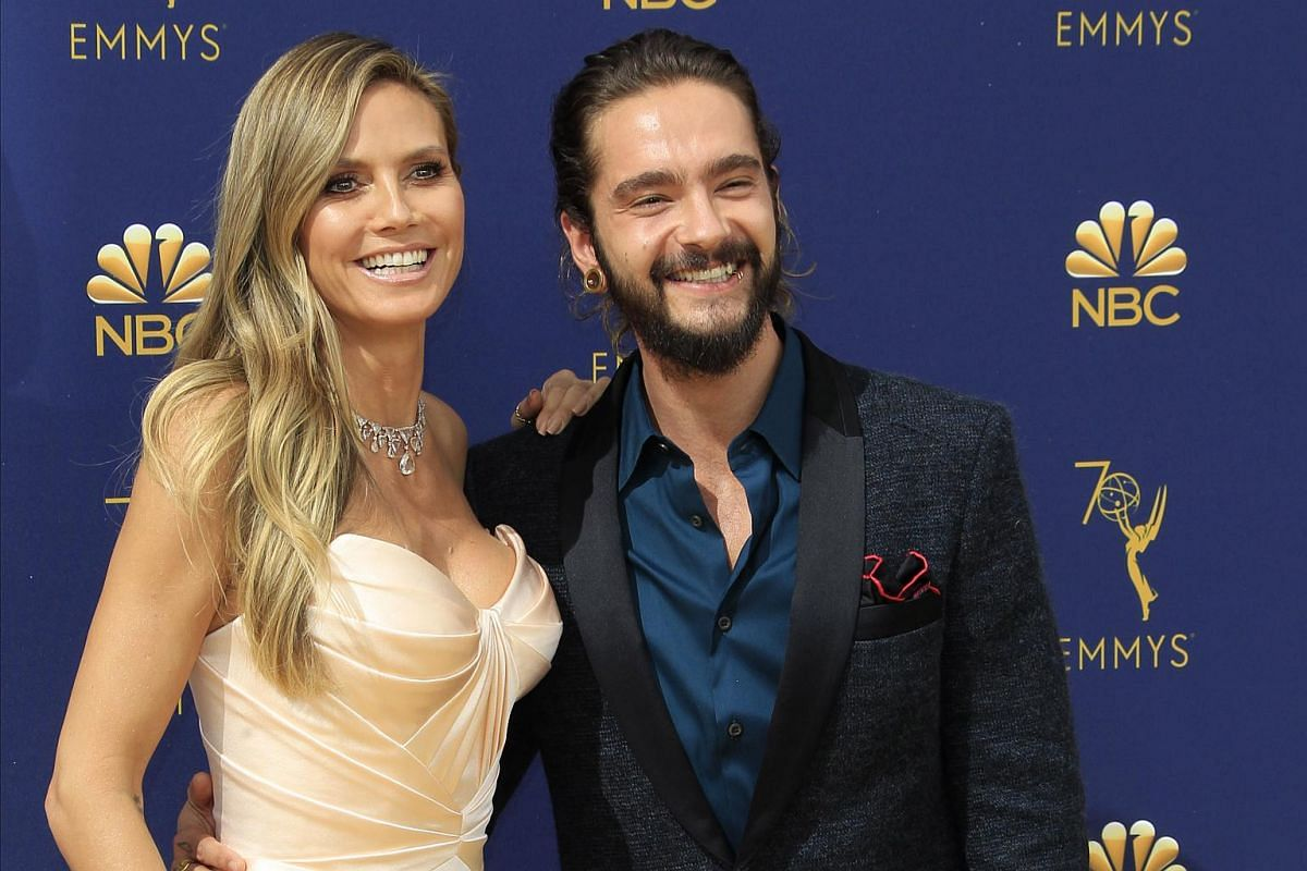Heidi Klum and boyfriend Tom Kaulitz arrive for the 70th Emmy Awards at the Microsoft Theatre in Los Angeles on Sept 17, 2018.