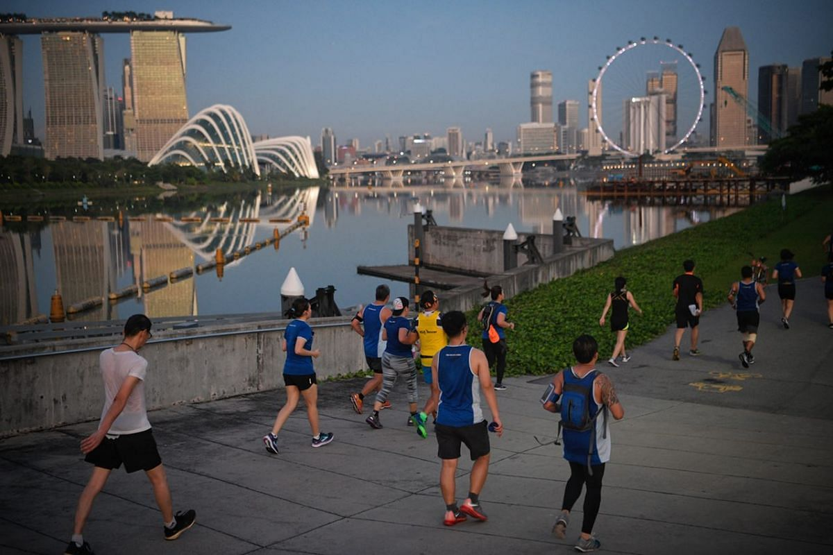 Participants of the 18.45km run pass by Gardens By The Bay East.