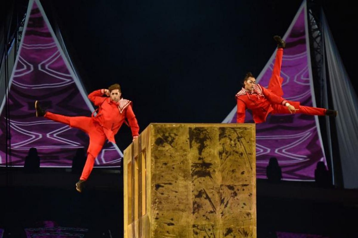 Members of the Canadian circus troop Le Cirque du Soleil perform a show as a part of celebrations of the 88th Saudi National Day at the King Fahad stadium, in Riyadh, on Sept 23, 2018.