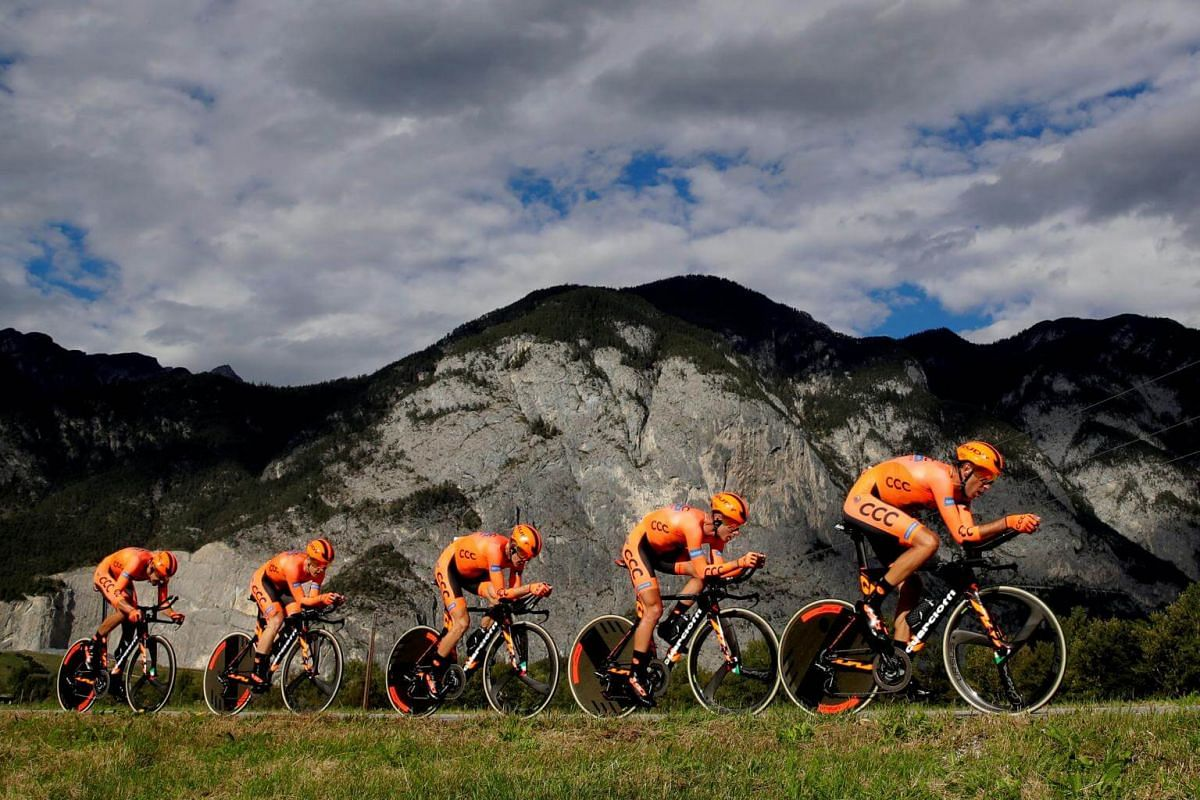 Team CCC Sprandi Polkowice during the Men's Team Time Trial of the UCI Road Cycling World Championships in Tirol, Austria, on Sept 23, 2018.