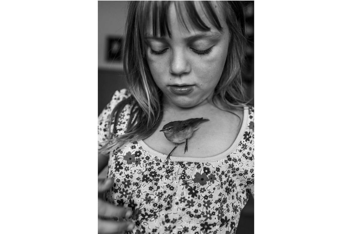 Hannah with Pipsi, a bird found in a nearby field, on Aug 14, 2014. Although the girls cared for Pipsi tenderly, he died that summer and was given a lovely funeral.
