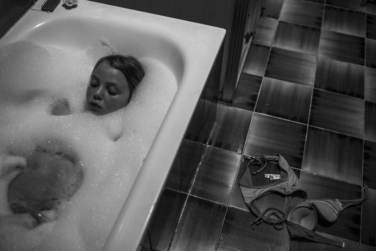 Hannah having a bath, on July 23, 2016.