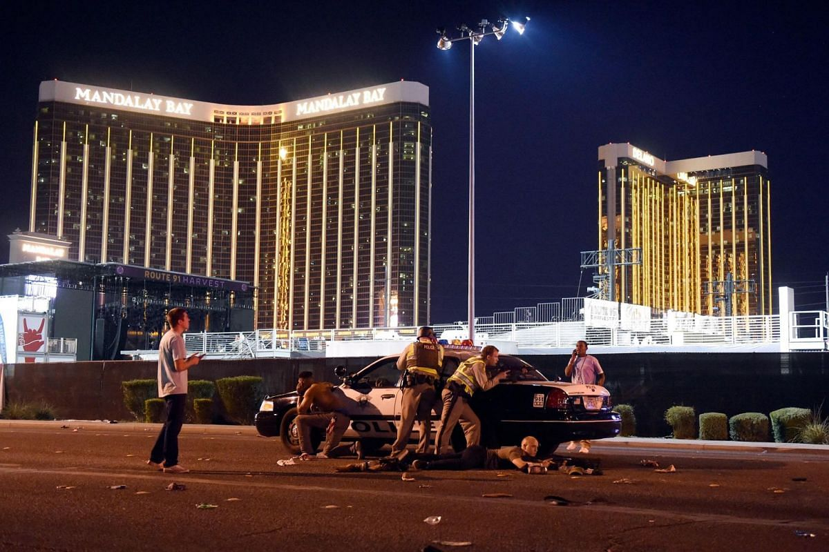 Police outside the concert grounds after a gunman opened fire on concertgoers at the Route 91 country music festival in Las Vegas, USA, on Oct 1, 2017.