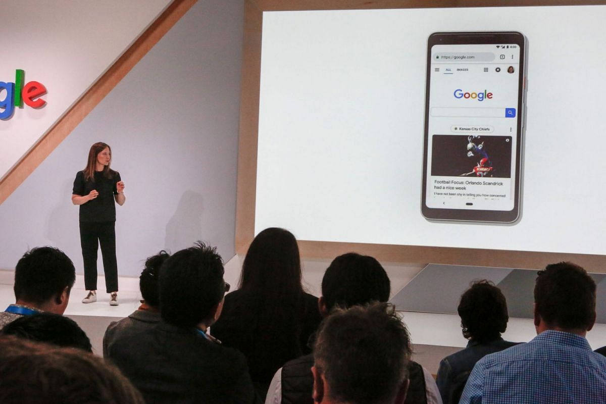 Director of Product for Search, Ms Emily Moxley, speaks during a demostration of Google's newest search features at the Google Search 20th Anniversary Event, on Sept 23, 2018 in San Francisco, California.