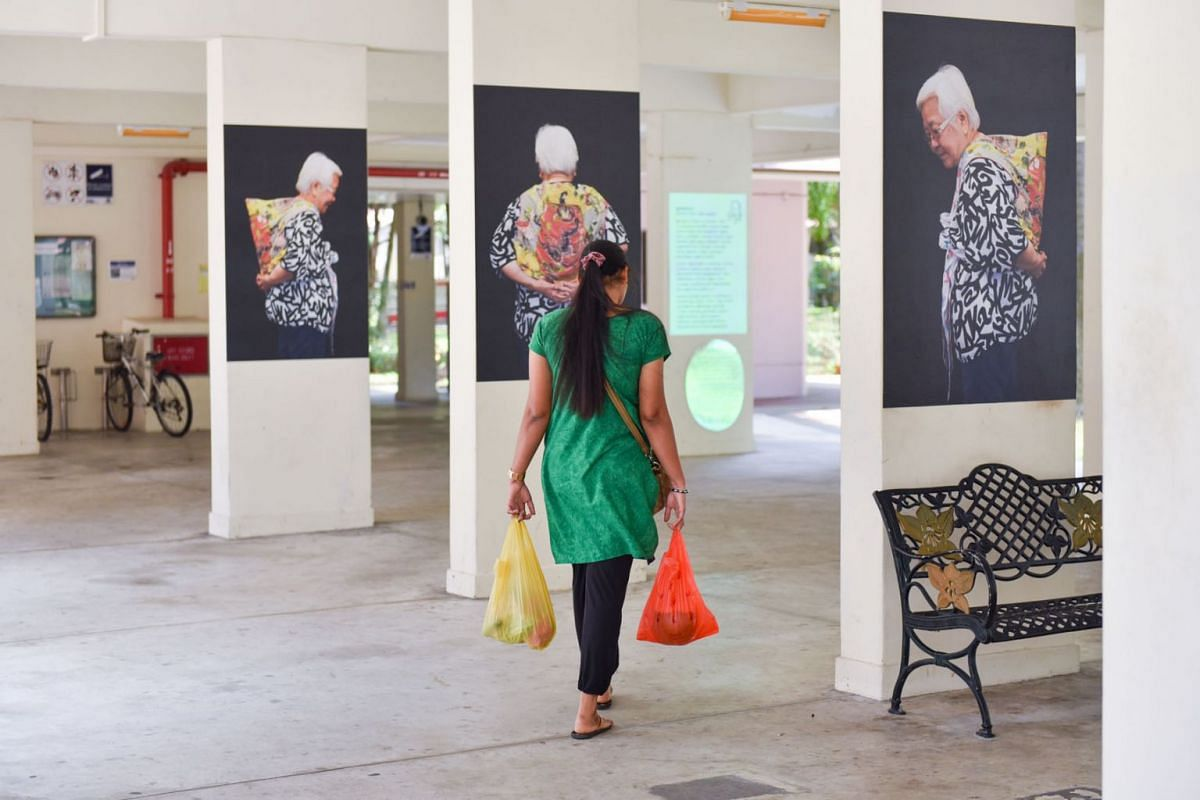 A public art installation exploring life and death featured between blocks 108 to 115 at Yishun Ring Road on Sept 25, 2018. PHOTO: THE STRAITS TIMES/JASMINE CHOONG